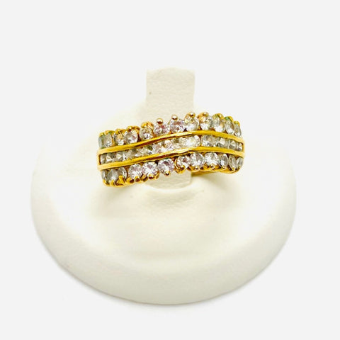 925 Sterling Silver Gold Plated Vermeil Solid Cubic Zirconia Cluster Band ring