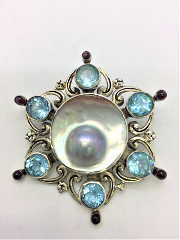Solid Sterling Silver Pin/Pendant with Blue Topaz, Garnet, Mabe Pearl Shell
