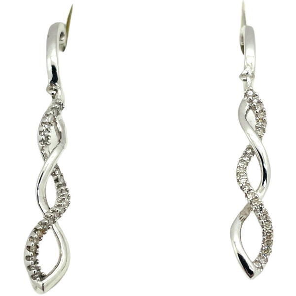 "14k Solid White Gold Diamond Earrings and Pendant Set with 18""-20"" Chain"