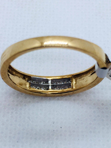 10k Solid Gold Mens Princess Cut Diamond Band Ring