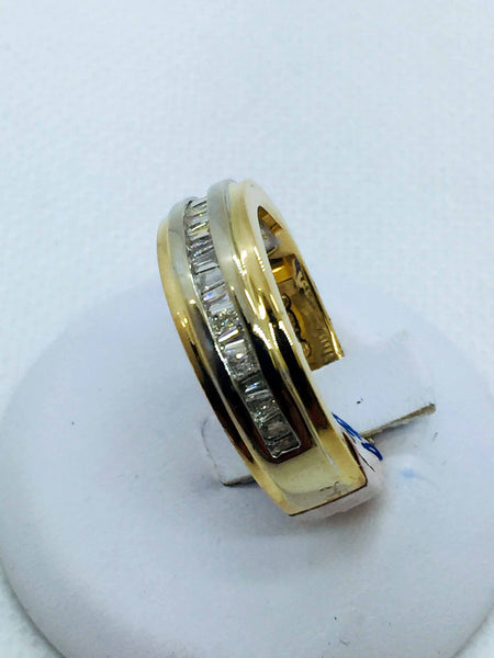 14k Solid Gold Men's Diamond Band Ring