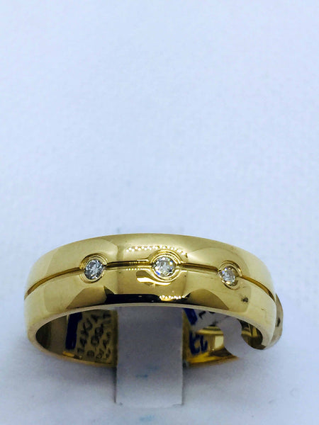 14k Solid Gold Mens Diamond Bezel Set Band Ring