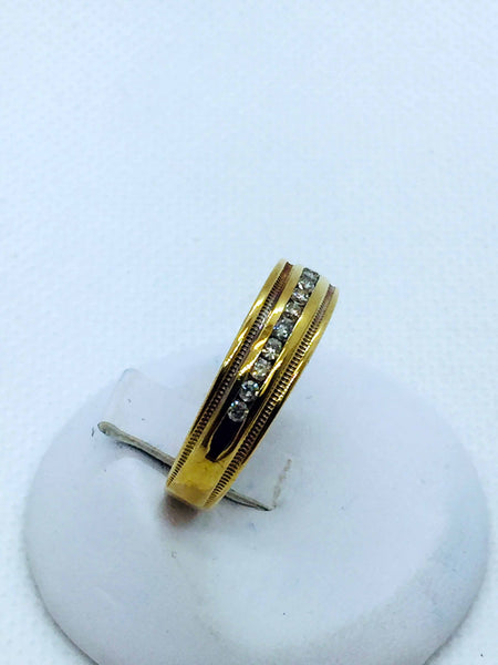 10k Solid Yellow Gold Mens Diamond Band Ring, 10.25 size