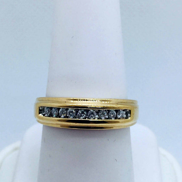 10k Solid Gold Mens Diamond Band Ring
