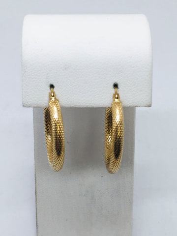 14K Solid Yellow Gold Textured Hoop Earrings