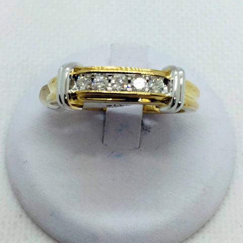 14k Solid Two Tone Gold Diamond Band Ring