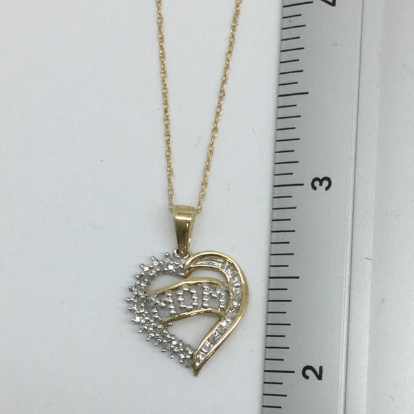 10k Solid Gold Diamond Heart Mom Pendant & Chain, 18""
