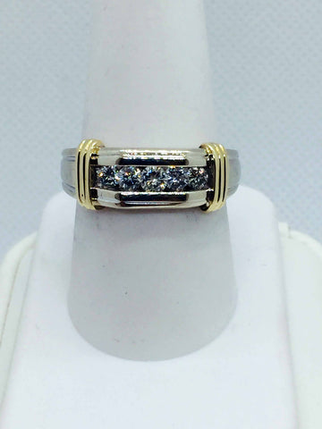 Vintage 14k Solid Two Tone Gold Diamond Band Ring