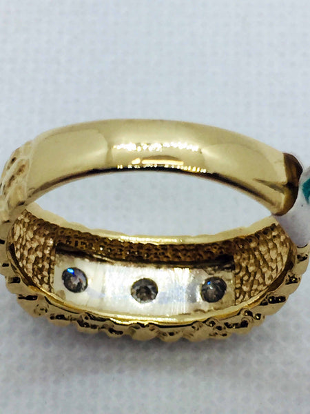 14k Solid Gold Nugget Diamond Band Ring