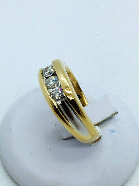14k Solid Gold Diamond Comfort Fit Band Ring