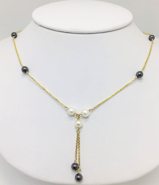 "14K Solid Gold Y-Style 16"" Necklace with Black & White Pearls"