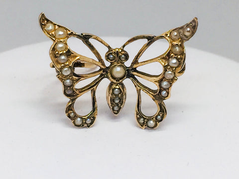 12K Yellow Gold Butterfly Brooch w/Seed Pearls, Vintage, Pre-Owned
