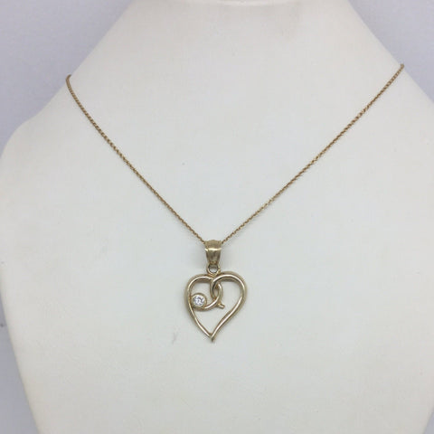10k Solid Gold Cubic Zirconia Heart Pendant & Chain