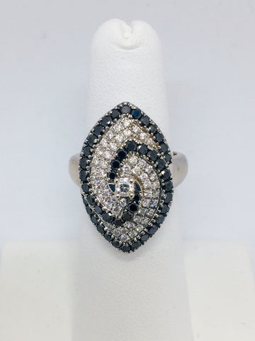 14K Solid White Gold Ring with Blue and White Diamonds