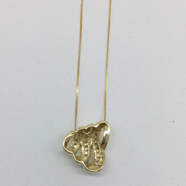 10k Solid Gold Diamond Slide Pendant & 14k Chain