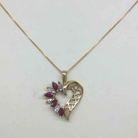 10k Solid Gold Diamond & Ruby Heart Pendant & 14k Chain