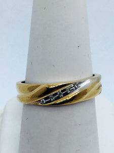 Vintage 10k Solid Gold Diamond Mens Band Ring