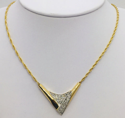 "14K Solid Yellow Gold Diamond Pendant w/16"" 14K Gold Rope Chain"