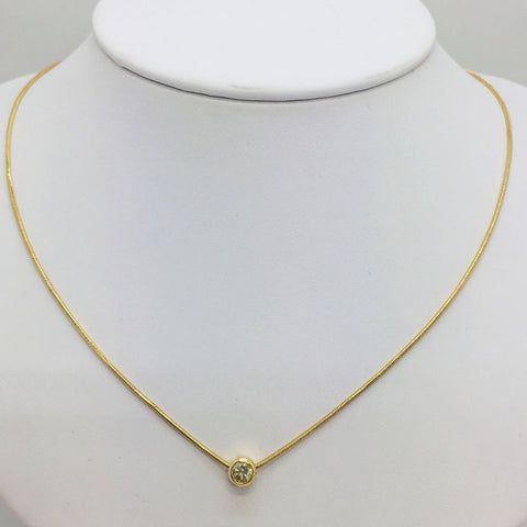 "14K Solid Yellow Gold Diamond Pendant Slide w/16"" 14K Gold Chain"