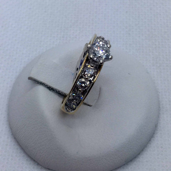 14k Solid Gold Diamond Engagement Band Ring