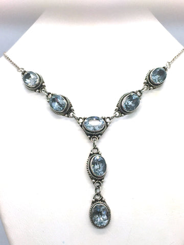 Solid Sterling Silver & Genuine Blue Topaz Necklace