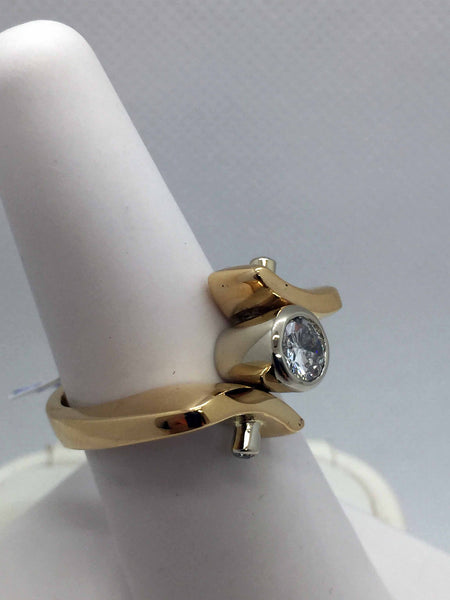 14k Solid Gold Diamond Modern Designer Ring
