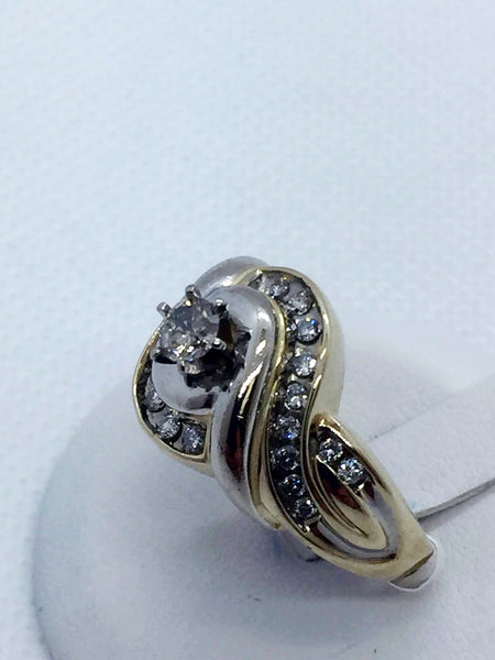 Vintage 10k Solid Two Tone Gold Diamond Engagement Ring