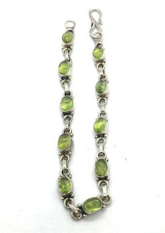 Solid Sterling Silver & Genuine Green Peridot Bracelet