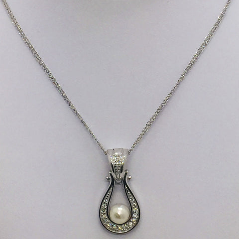 "14K White Gold Pearl & Diamond Pendant w/18"" Double Strand Chain"