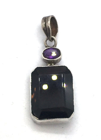 Solid Sterling Silver With Genuine Smokey Quartz & Amethyst Pendant