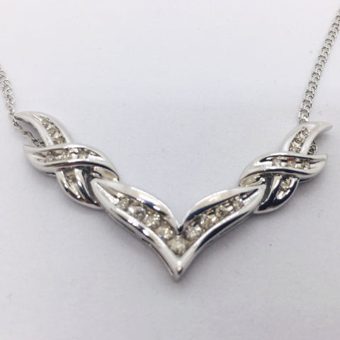 "14K Solid White Gold Diamond 18"" Chain Necklace"