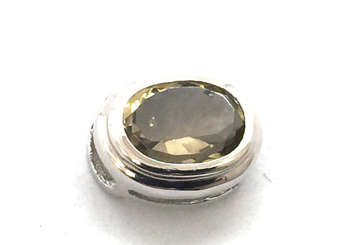 Solid Sterling Silver & Genuine Smokey Quartz Slide / Pendant