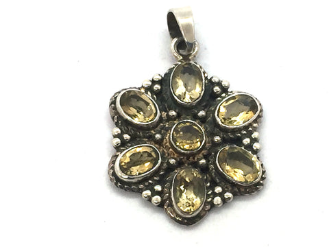 Solid Sterling Silver & Genuine Citrine Pendant