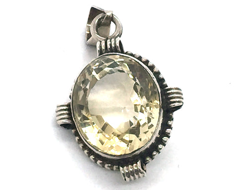 Solid Sterling Silver & Genuine Citrine Quartz Pendant