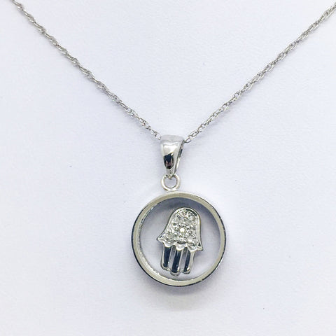 "14K Solid White Gold Spinning Diamond Hamsa Pendant w/16"" Chain"