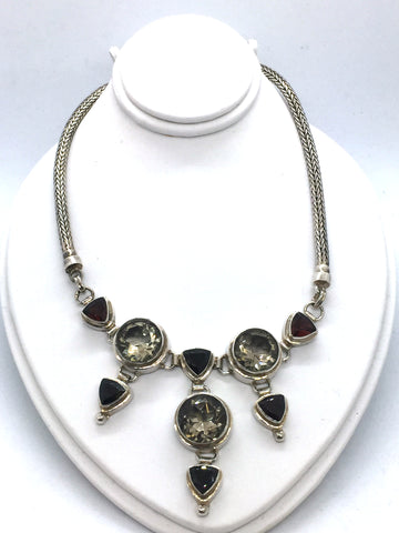 Solid Sterling Silver With Genuine Citrine & Garnet Necklace With Toggle Clasp