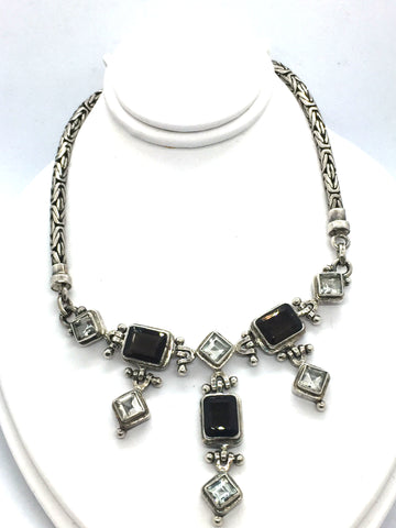 Solid Sterling Silver With Genuine Smoky & White Quartz Necklace With Toggle Clasp