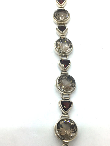 Solid Sterling Silver With Genuine Smoky Quartz & Garnet Toggle Clasp Bracelet