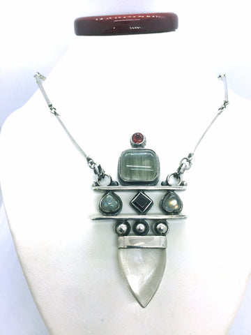 Solid Sterling Silver Necklace with Garnet, Labrodite & Quartz Stones