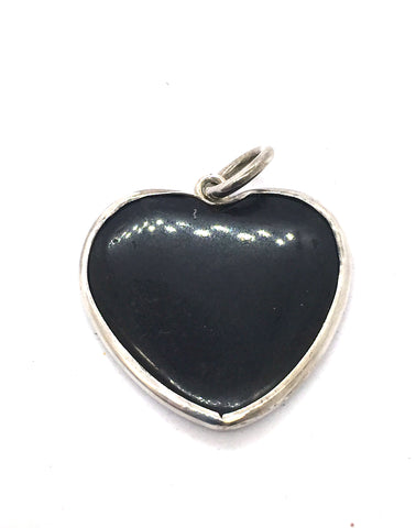 Solid Sterling Silver & Genuine Black Onyx Bezel Set Heart Pendant