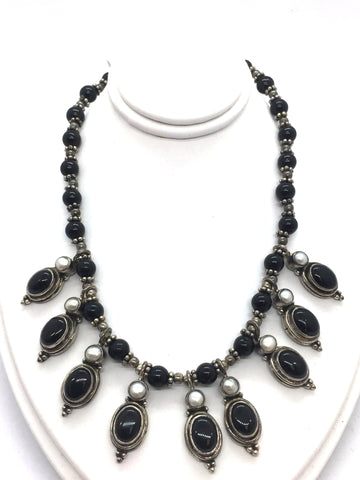 Solid Sterling Silver Necklace With Genuine Black Onyx & Pearls