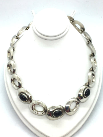 Solid Sterling Silver & Genuine Black Onyx Necklace