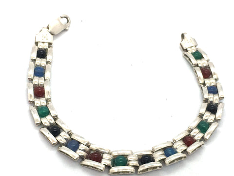 Solid Sterling Silver & Mult-colored Bead Bracelet