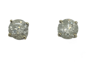14K Real White Solid Gold Round Diamond Solitaire Stud Earrings, 2.0CTW, I, I-J