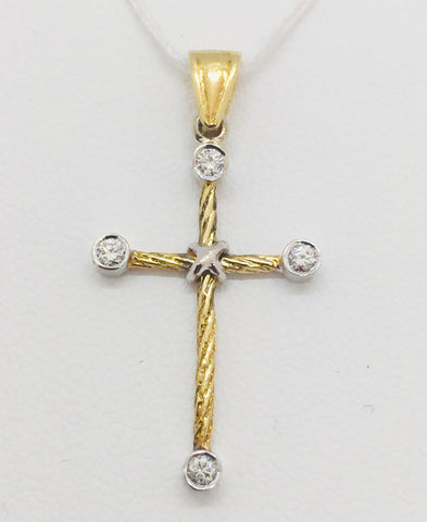 18K Solid Two-Tone Gold Cross Pendant with Diamonds