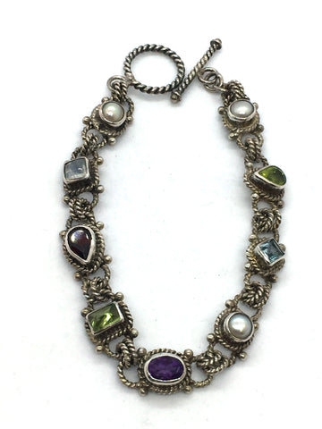 SARDA Designs Sterling Silver Multi-Colored Stone Toggle Clasp Bracelet