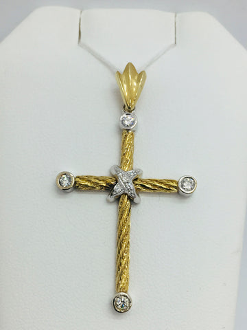 14K Solid Yellow Gold Cross Pendant with Diamonds