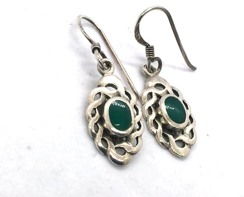 Solid Sterling Silver Celtic Design Dangle Earrings With Green Agate