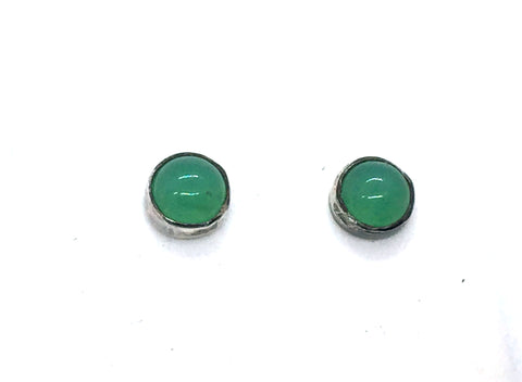 Solid Sterling Silver & 5mm Green Stone Post Earrings