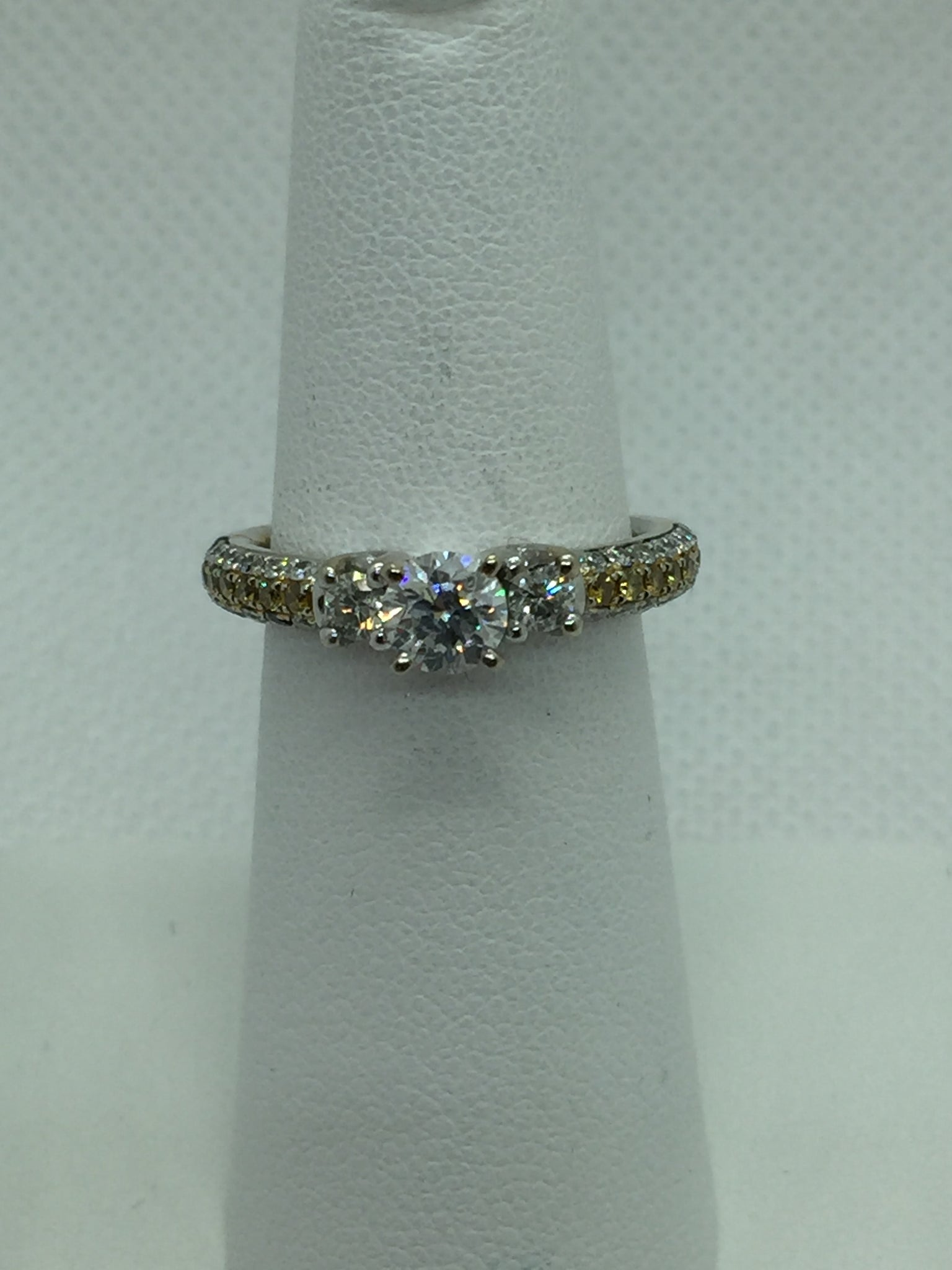 Vintage 14k Solid White Gold Yellow & White Diamond Engagement Ring